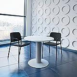 Optima runder Besprechungstisch Ø 80 cm Weiß Silbernes Gestell Tisch Esstisch