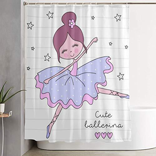 KGSPK Duschvorhang,Kleine Ballerina Mädchen Balletttänzerin,wasserdichter Badvorhang mit 12 Haken Duschvorhangringen 180x180cm