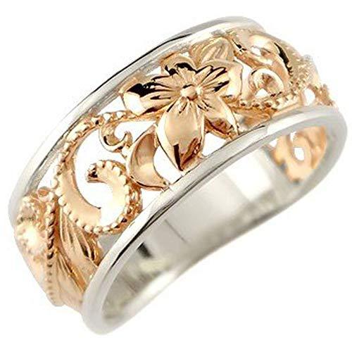 [アトラス]Atrus リング レディース 18金 ピンクゴールドk18 pt900 プラチナ900 ハワイアンジュエリー 指輪 幅広 透かし ミル打ち ピンキーリング 16号