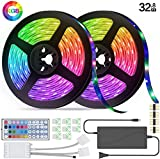 LED Strip Lights RGB Strips 32.8ft Tape Light 300 LEDs Waterproof Color Changing with 44Keys IR Remote Decoration for Home TV Party