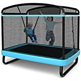 Giantex 6 Ft Kids Trampoline with Swing, ASTM Approved Indoor Mini Trampoline with Safety Enclosure Net, Built-in Zipper, Heavy Duty Baby Toddler Rectangle Trampoline, Max Load 220lbs