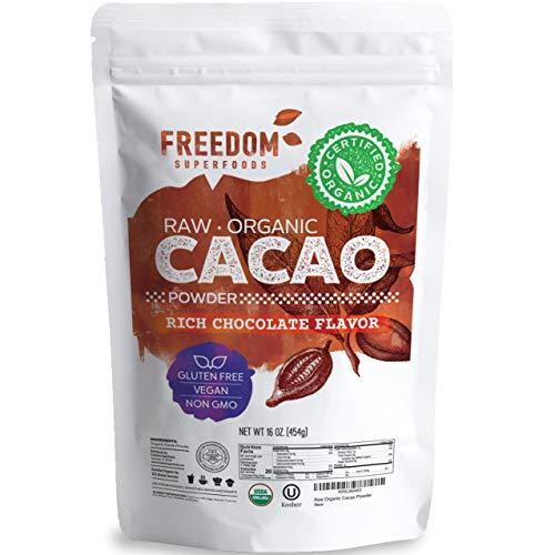 Cacao Powder Raw Organic- Premium Dark Unsweetened Cocoa - 1lb