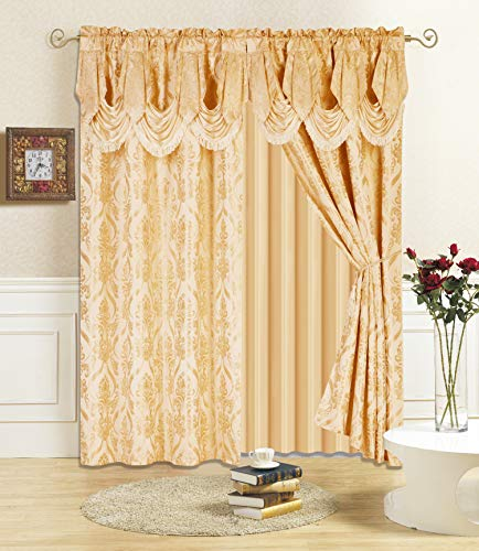 """All American Collection New 4 Piece Drape Set with Attached Valance and Sheer with 2 Tie Backs Included (84"""" Length, Gold)"""