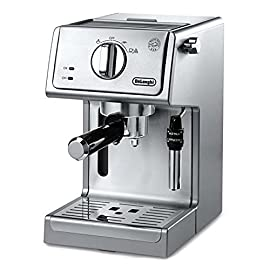 "De'Longhi Bar Pump Espresso and Cappuccino Machine, 15"", Stainless Steel 2 15 bar professional pressure assures quality results every time Second tier drip tray to accommodate larger cups Removable 37 ounce water tank. Full stainless steel housing"