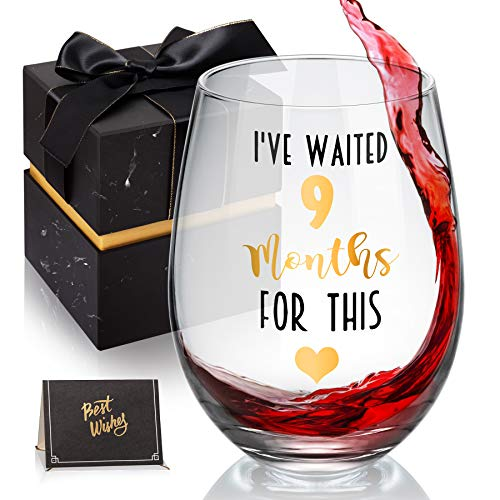 I've Waited 9 Months For This! Funny New Mom Stemless Wine Glass for Expectant Moms and Post Pregnancy Gifts, Funny 18 oz Stemless Wine Glasses for Women, Her, Mom on Mother's Day Or Christmas