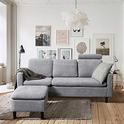 """Viewee 77.5"""" L-Shaped Couch, Tool-Free Assembly, Concertible Sectional Sofa with Reversible Chaise, Removable Headrest Pillow for Users of Varying Heights, Cotton (Grey)"""