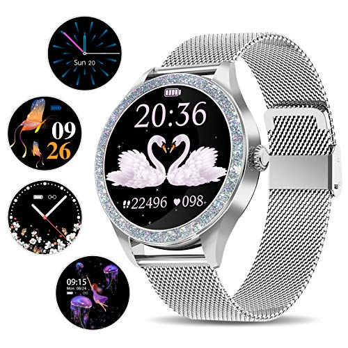 Smart Watch for Women, Activity Fitness Trackers IP68 Waterproof Elegant Ladies Smartwatch with Heart Rate Monitor, Sleep Monitor, Step Counter, Calorie Counter Women Period Female Period Tool, Silver