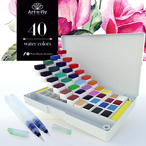 40 Watercolor Paint Set Portable Water Colors Set Includes Water Brushes Sponges Mixing Palette