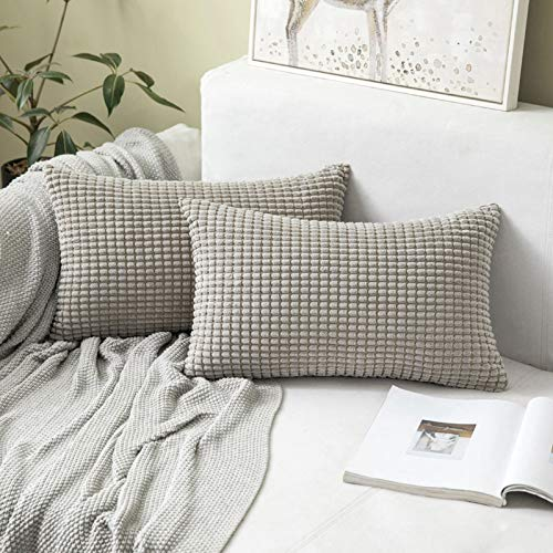 MIULEE Striped Corduroy Fabric Square Throw Pillow Case Solid Cushion Cover Sham Home for Sofa Chair Couch/Bedroom Decorative Pillowcases 12x20 inch 30x50cm 2 Pieces Light Grey
