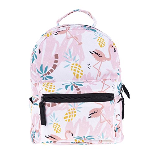 FRINGOO Girls Mini Backpack Casual Daypack Rucksack Travel Shoulder Small Bag Cute Fashion Funky (Tropical Doodle - mini)