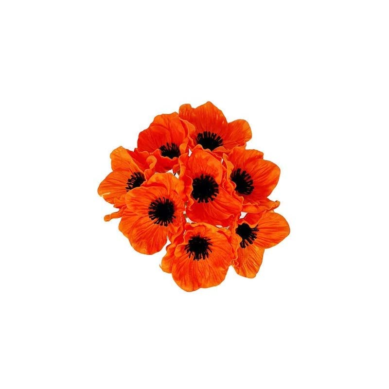 silk flower arrangements floral kingdom 8 pcs real touch anemone poppy bouquet for artificial flower decor