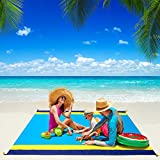 Beach Blanket, WIWIGO Beach Mat Sandproof Picnic Blanket Large Compact for 4-7 Persons Waterproof and Drying Camping Blanket Made by Nylon Pocket Picnic for Outdoor Travel with Storage Bag (78' X 82')