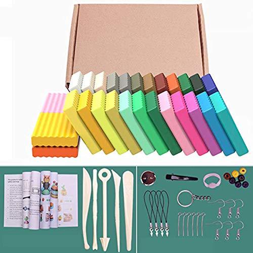 Queta 24 Colores Arcilla Polimérica Plastilina Seguro no tóxico y suave 500g Juego de Arcilla Artisanal con Herramientas de Modelado Accesorios Regalo para niños