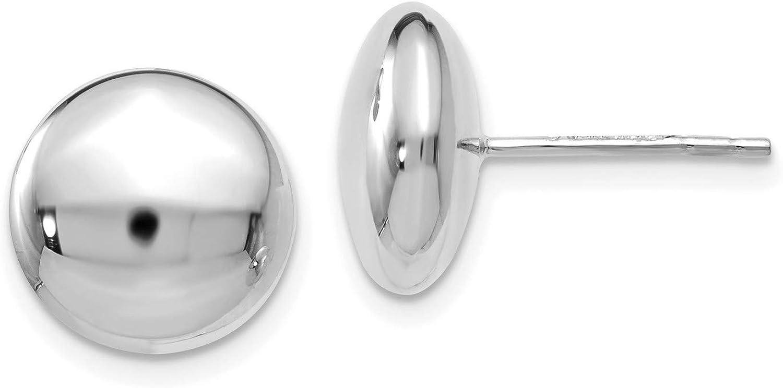 14k White Gold Button Post Earrings 11x11 mm