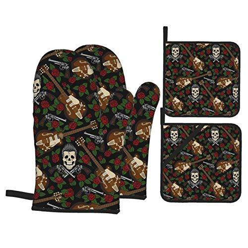Juego de 4 manoplas de horno y soportes para ollas, Rockabilly, diseño de calavera, pistolas de guitarra y rosas, resistentes al calor, guantes para hornear