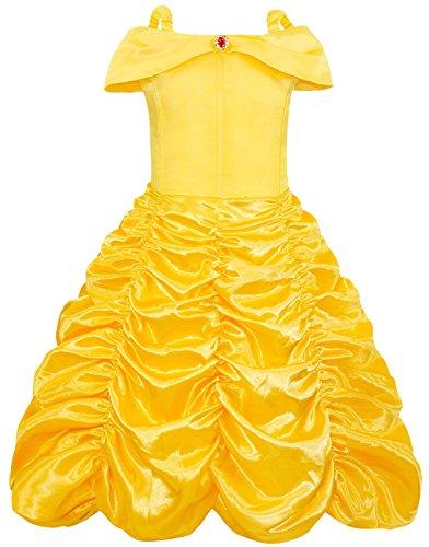 Cotrio Traje para meninas princesa Belle vestido de fantasia de aniversário infantil para meninas 9-10 anos amarelo