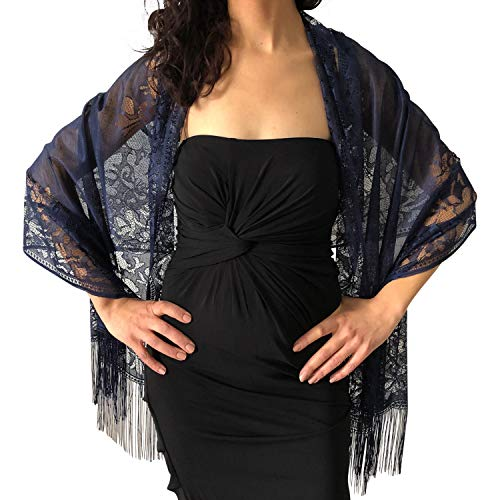 Central Chic Tulle Wedding Wrap Shawl Lace Pashmina Party Evening Shawl Scarf With Lace Tassels (Navy)