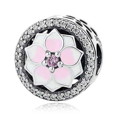 FUNSHOPP, Charm, Magnolien-Blütendesign, 925er-Silber, Rosa, geeignet für Original-Pandora-Armbänder