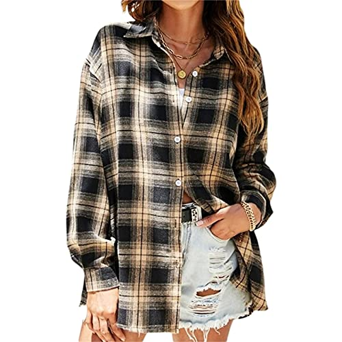 Camisa a cuadros para mujer, manga larga, estilo eisure, amarillo, XXXL