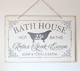 Bath House Sign Bath Decor Vintage Bathroom Hot Baths Soap Towels Bathroom Decor Rustic Farmhouse Shabby Chippy White