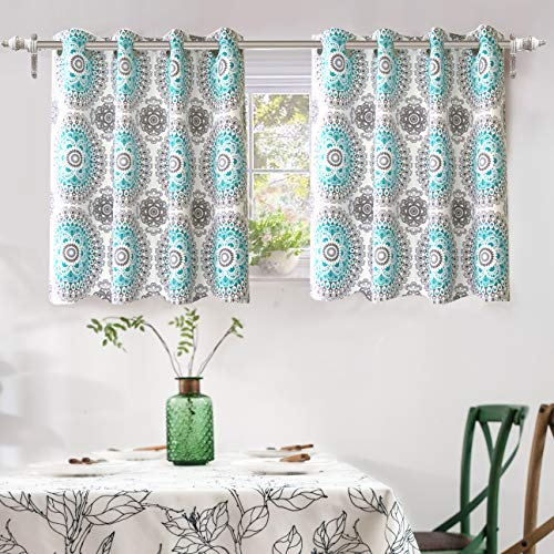 DriftAway Bella Medallion and Floral Pattern Room Darkening and Thermal Insulated Grommet Window Curtains 2 Panels Each 52 Inch by 36 Inch Aqua and Gray