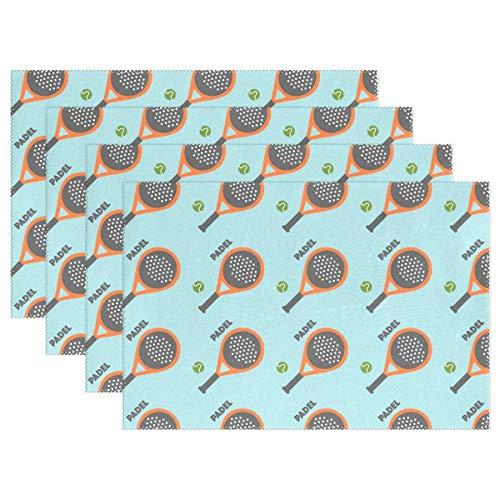 GOSMAO Mantel Individual para Tenis de pádel, tapete para Mesa de Comedor, poliéster, Resistente al Calor, Antideslizante, Juego de 6