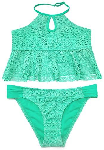 SHEKINI Mädchen Volant Tankini Set High Neck 2 Teiliger Bikini Low Waist Bikinihose Gepolstert Neckholder Bademode Strandmode