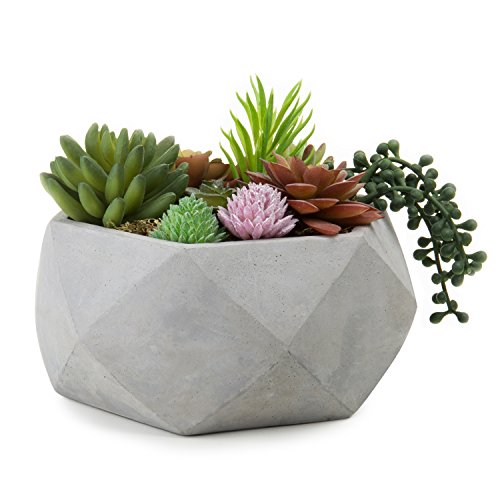 MyGift 8-Inch Geometric Cement-Tone Succulent Planter Bowl