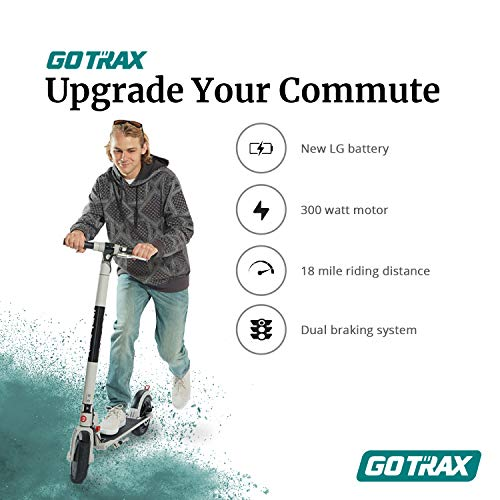 GOTRAX XR Ultra Electric Scooter, LG Battery 36V/7.0AH Up to 18 Miles Long-range, Powerful 300W Motor & 15.5 MPH, UL Certified Adult E-Scooter for Commuter (Black)