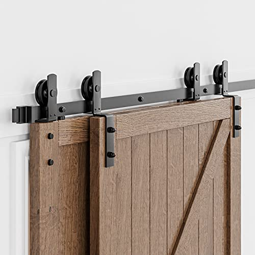 HomLux 7.5ft Bypass Sliding Barn Door Hardware Kit for Double Doors, Upgraded Single Track, Easy to Install & Reusable, Smoothly & Quietly-Fit 1 3/8-1 3/4