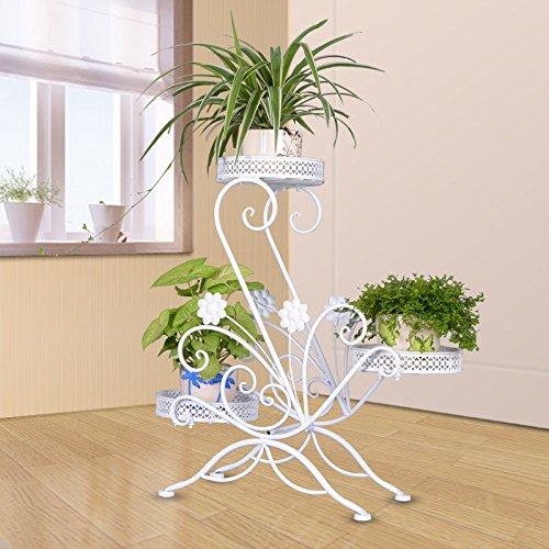 CKH Européenne Fer Creative Multi-Couche Fleur Vert Luo Hang Orchidée Balcon Salon Intérieur Pot Rack Multi-Fonction (Color : White)