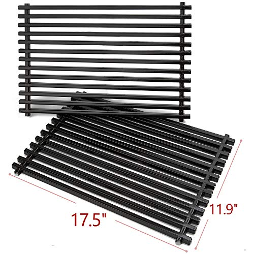 SHIENSTAR Grill Grates for Weber Spirit 300 Series, Genesis Silver B C Genesis Gold B C Grill Parts, Set of 2-17.5 x 11.9 inch Porcelain Enameled Cooking Grids 7638 for Weber Spirit 310 e310 Grates Grids