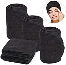Black Spa Headband, Soft Terry Cloth Headbands Wide Elastic Towel Sports Head Wrap for Men, Nonslip Stretch Women Facial Headband Scarf for Yoga Makeup Bath Shower - 5PCS