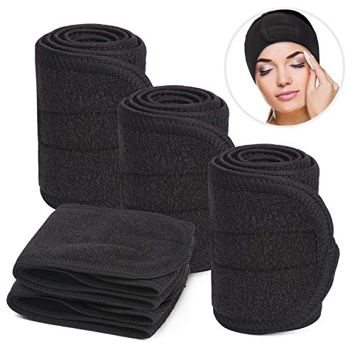 Noverlife 5PCS Black Spa Facial Headband, Soft Terry Cloth Cotton Hair Wrap, Elastic Stretchy Makeup Headband for Face Wash, Bath Showering, Beauty Salon Facial Treatment & Sports