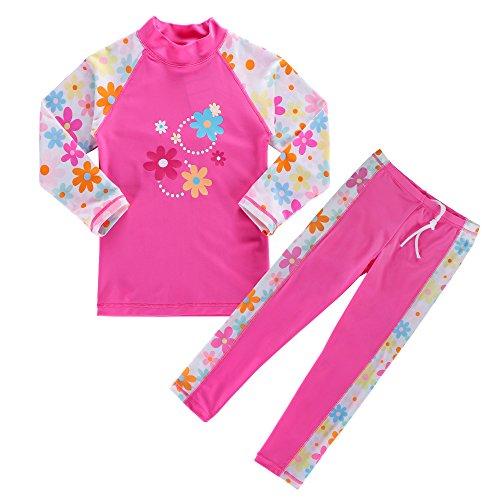 BAOHULU Girls Swimsuit UPF 50+ UV Protective 3-12 Years (5-6Y(Tag.No 6A), HotPinkLong)