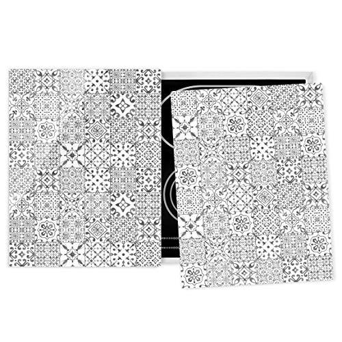 Bilderwelten Herdabdeckplatte ceranfeld 2teilig Glas universal Fliesen Grau Weiß 52 x 80 cm