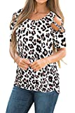 Womens Summer Short Sleeve Flora Print Loose Strappy Cold Shoulder Tops Basic T Shirts Blouses Leopard Print XX-Large