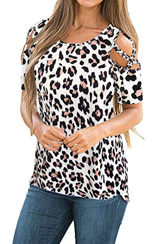 Womens Summer Short Sleeve Flora Print Loose Strappy Cold Shoulder Tops Basic T Shirts Blouses Leopard Print Medium