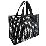 DOKUNSIN Mesh Shower Tote Bag with Handles Two-Tone Quick Dry Woven Shower Caddy for Men Women Bath Toiletry Organizer for Dorm, Gym, Swimming Pool, Beach, SPA (Black and White, Large)