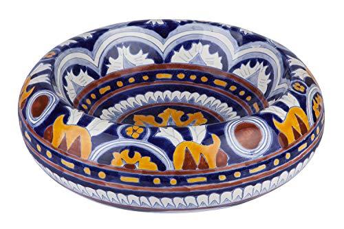 Cerames Imelda - Mexikanische Rund Aufsatzwaschbecken | 40 cm Keramik Talavera klein Waschbecken aus Mexiko | Buntes Deko motiven