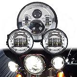LWD 7 pulgadas Harley Daymaker LED faros redondos con luces negras de 4,5 pulgadas Passing Lamps Faros antiniebla para motocicletas Harley Davidson con adaptador de cables (Chrome)