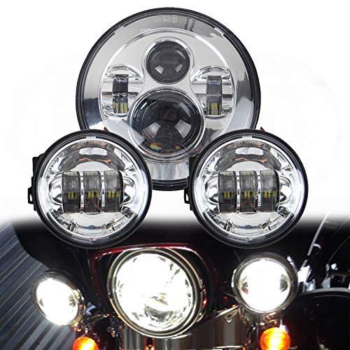 LWD 7 Zoll Harley Daymaker LED Runde Scheinwerfer mit passendem Schwarz 4,5 Zoll Passing Lampen Nebelscheinwerfer für Harley Davidson Motorräder mit Drahtadapter (Chrome)