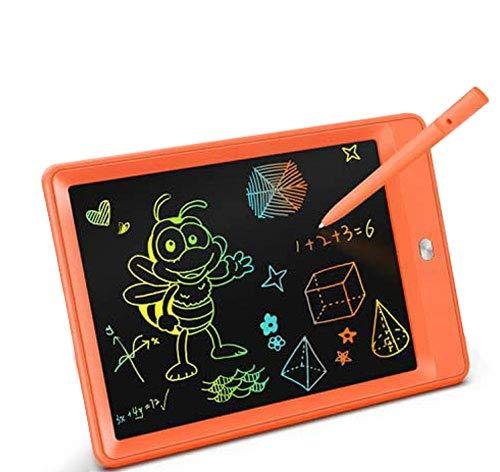 TEKFUN 10 Pulgadas Tablet para niños,Portatiles Buenos,Tableta de Escritura LCD de con Bloqueo de Pantalla borrable y función Reutilizable,Pizarra Luminosa niños,Juegos educativos niños(Naranja)