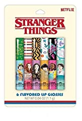 Includes 6 flavored lip glosses Perfect gift for fans of Stranger Things Each gloss is inspired by a character from Stranger Things Flavors included: Vanilla, Cherry, Grape, Peach, Strawberry, & Apple Officially licensed product