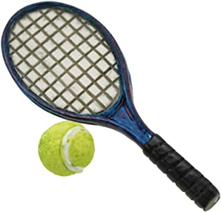 Aland-Mini Simulation Tennis Racket Models 1:6 1:12 Dollhouse Accessories for Doll - Blue