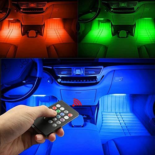 Auto-LED-Lichtstreifen - 4St Auto Innenbeleuchtung Musik LED-Beleuchtung Kit, 48 LED-Lichtleisten mit Sound-activated Music Control