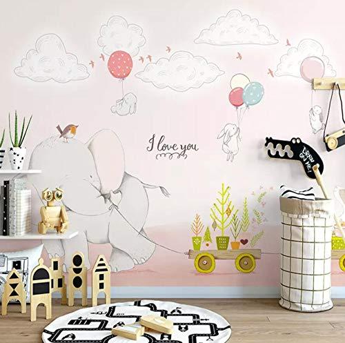 Decoratieve wandbekleding met 3D-vlies, roze, slinger, olifant, Child Room, regenboog, sterrenhemel 200cm*140cm