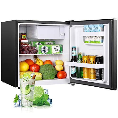 Compact Refrigerator, TECCPO 1.6 Cu. Ft Mini Fridge with Freezer, Energy Star, Ultra Quiet, Temperature Control, Single Reversible Door, Using for Dorm, Office, Bedroom, Garage, Camper, Basement, Black - TAMF04