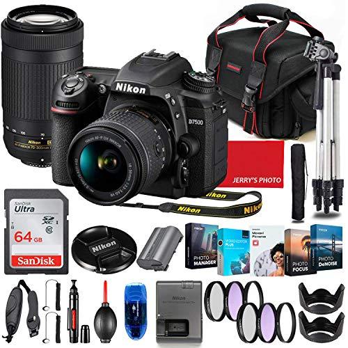Nikon D7500 DSLR Camera with 18-55mm VR & 70-300mm Lens Bundle + Premium Accessory Bundle Including 64GB Memory, Filters, Photo/Video Software Package, Shoulder Bag & More
