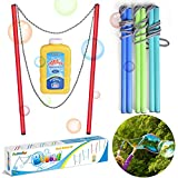 FUN LITTLE TOYS 4 Pack 17 Inch Giant Bubble Wands with Bubble Solution, Bubble Party Favorsfor Kids, Outdoor Toys Summer Activities